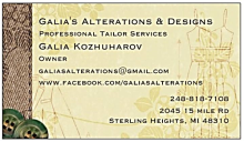 galia's alteration and design business card
