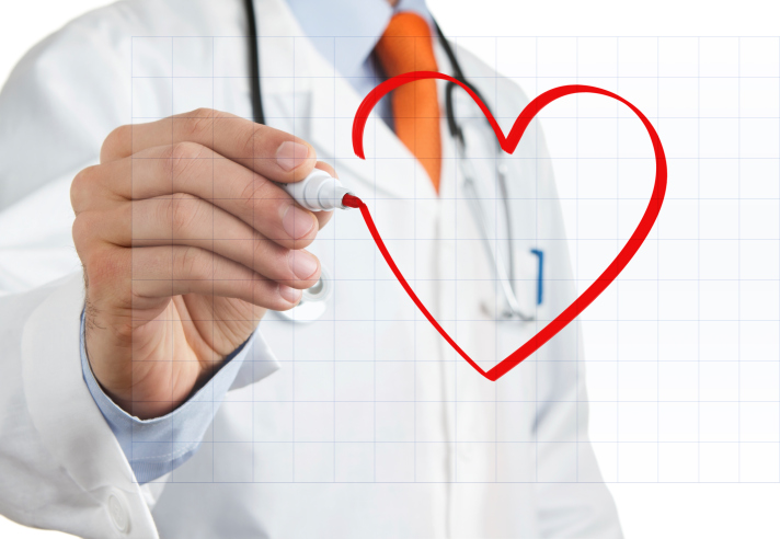 image of doctor drawing heart