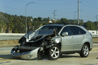 image of a car totaled in an accident
