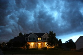 image of storm clouds over Michigan home