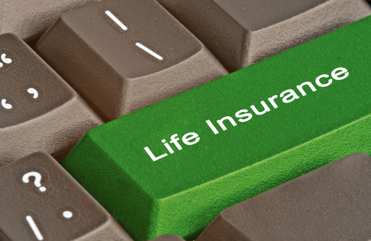 image of life insurance as a key board button