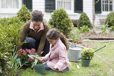 image of mother and daughter in garden